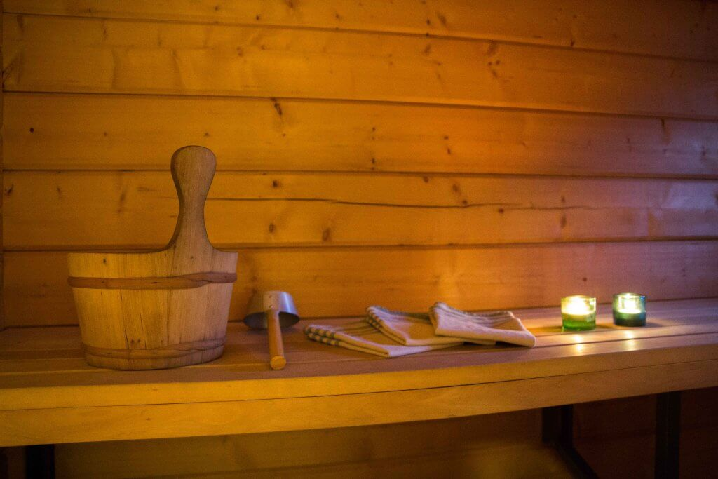Sauna at our cottage with candles, alll what you need to experience the true Finnish sauna culture