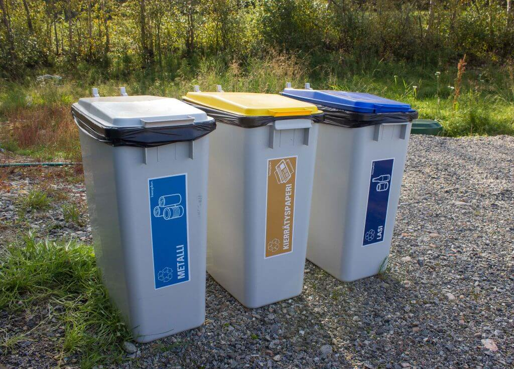Recycling bins at our cottages are the first step towards green travel in Lapland